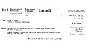 CRA cheque to Rizzuto