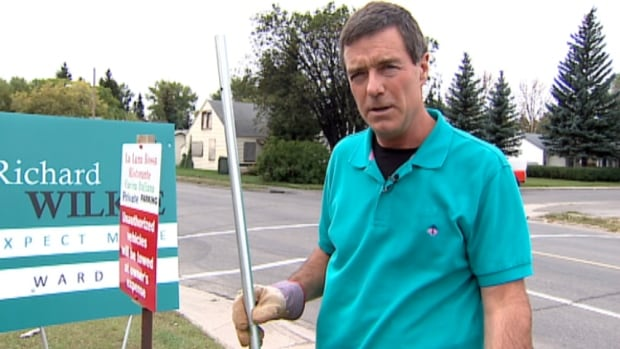 Ward 9 candidate Richard Wilkie says his signs have disappeared from the main roads in the Calgary community of Acadia.