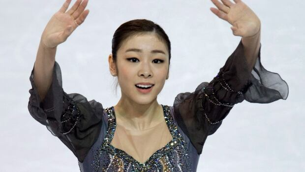 Yuna Kim of Korea waves to the crowd after performing London, Ont., in March, but an injury will prevent her from competing in Saint John, N.B.
