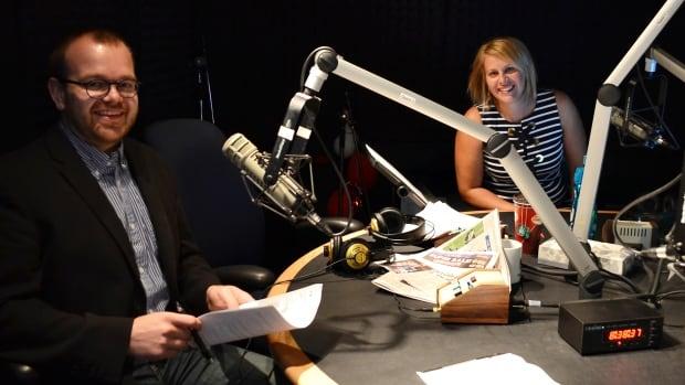 Saskatoon Morning host Leisha Grebinski (right) and online host Matt Kruchak in Studio YXE on Thursday after the first show.