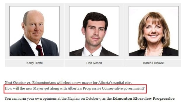 "This screen capture, provided by the Wildrose Party and eventually taken down from the Edmonton Riverview PC Association website, is being portrayed by the Opposition as an attempt to ""bully"" the city's future mayor at a question-and-answer forum. The forum has been cancelled."