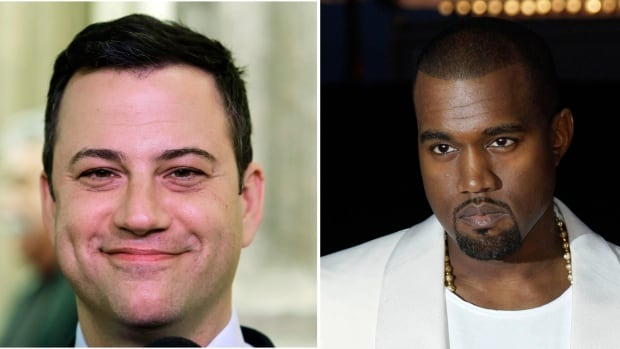 This combo of photos shows Jimmy Kimmel, left, and Kanye West, who either are engaged in a bitter feud or a heck of a parody.