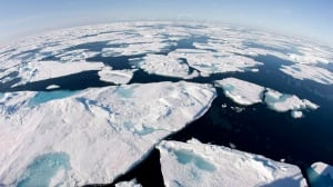 """Ice floes float in Baffin Bay in July 2008. The Intergovernmental Panel on Climate Change has issued a synopsis of its latest report, concluding it is """"extremely likely"""" that human activity is the dominant cause of global warming. A Canadian scientist, who contributed to the report, says the Earth's surface temperature continues to warm."""