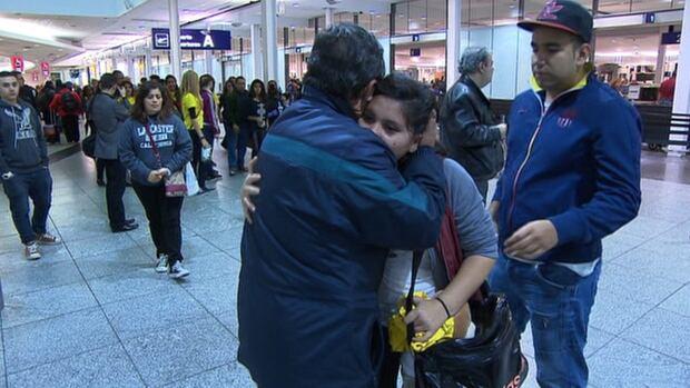 The Alvarez-Rivera family at Montreal's Pierre Elliott Trudeau Airport, en route to El Salvador as deportees.