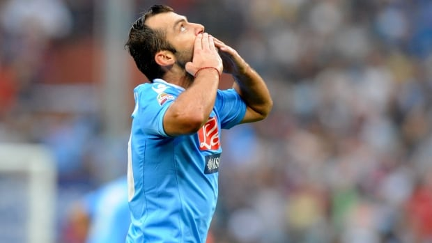 Napoli striker Goran Pandev celebrates after scoring against Genoa on Saturday.