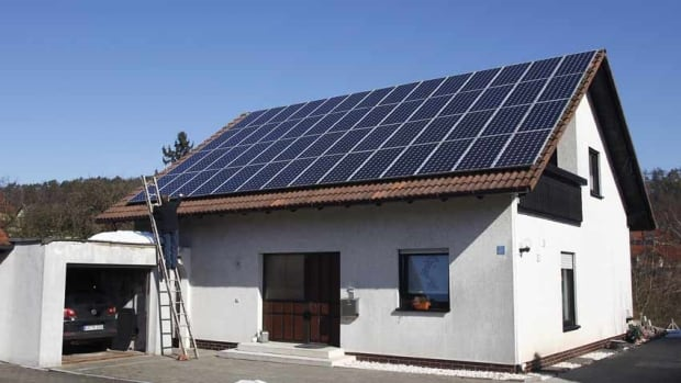 Swedish furniture retail giant Ikea plans to start selling solar panels for the home, like the ones on a house in Coburg, Germany, above, at its stores in Britain and eventually expand the offerings to other countries.
