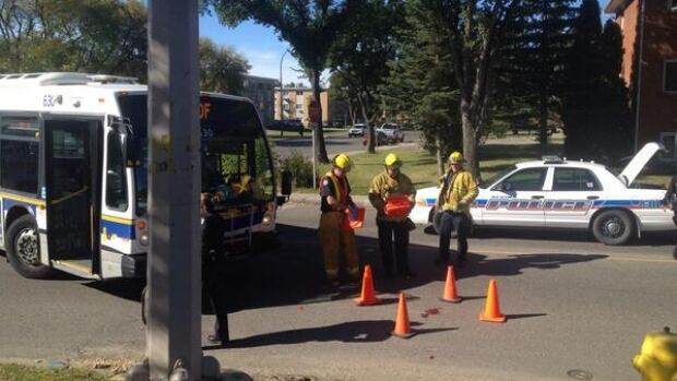 An elderly man was rushed to hospital after he was hit by a Regina transit bus while crossing the street.