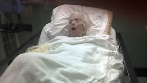 """The picture of Jean Warden was taken after she was admitted to the University of Alberta Hospital in September 2005. Family claimed that staff at her nursing home failed to help feed her. A fatality inquiry has found Warden's care was """"adequate."""""""