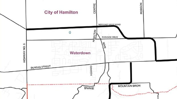 This City of Hamilton map shows the future course of the east-west bypass. The bypass has cleared what is likely its last provincial hurdle, and the project is finally moving ahead, Coun. Judi Partridge says.