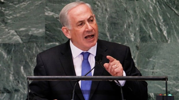 Israel's Prime Minister Benjamin Netanyahu addresses the 67th United Nations General Assembly in New York Sept. 27, 2012. He was making another appearance before the Assembly today.