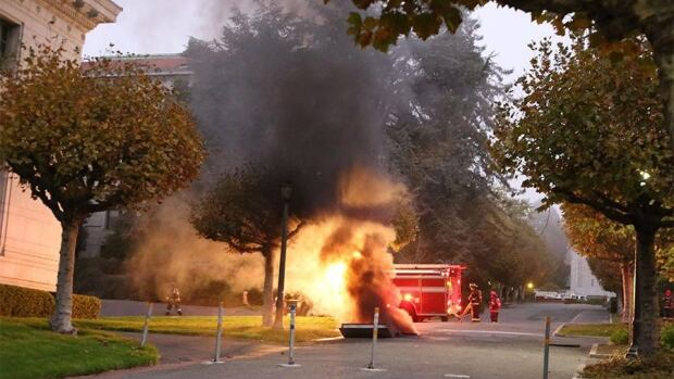 At least one person was hospitalized and a mandatory evacuation was ordered after the explosion followed a power outage across University of California Berkeley campus.  Fire crews freed about 20 people trapped in dormitory elevators across campus.