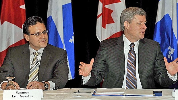 Senator Leo Housakos with Prime Minister Stephen Harper at a meeting of prominent Montreal business leaders in January 2009, shortly after Housakos was appointed to the upper chamber.