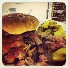 Texas-sized brisket sandwich