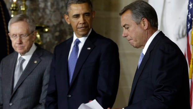 President Barack Obama, Senate Majority Leader Harry Reid and House Speaker John Boehner have all been playing the blame game over the partial shutdown of the U.S. government.