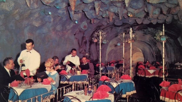 """The back of this old postcard for the Blue Grotto says: """"Signor Bruno, who has successfully realized a secret dream, invites you to enter the cool blue oasis of Italian atmosphere in this new and different dining room in Hamilton, Ontario."""""""