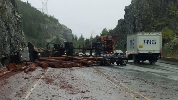 A logging truck flipped over on the Sea To Sky Highway this afternoon.