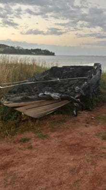 The boat exploded and the wreckage was pulled ashore.