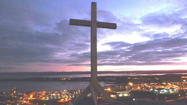 The newly restored cross sits again atop Hospital Hill in Iqaluit.