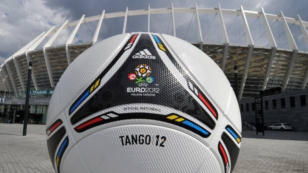 A symbolic ball of EURO-2012 tournament is set in front of Olympic Stadium in Kiev.