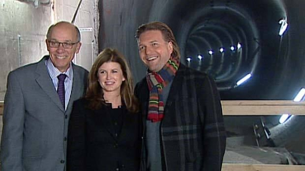 Mayor Stephen Mandel, Public Works Minister Rona Ambrose and Deputy Premier Thomas Lukaszuk celebrate completion of the North LRT tunnels.
