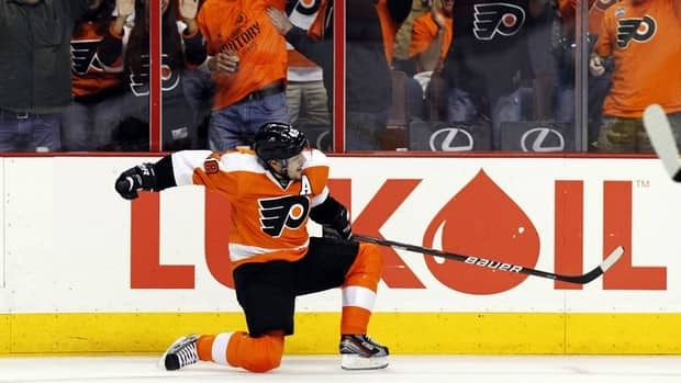 Philadelphia Flyers centre Danny Briere reacts after his goal in the second period of Game 1 against the New Jersey Devils on Sunday.