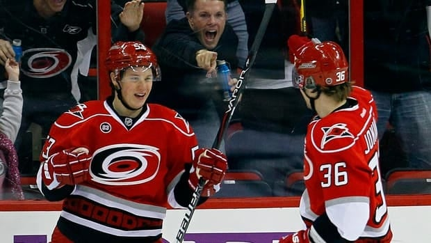 Carolina Hurricanes' Jeff Skinner, left, and Jussi Jokinen (36) celebrate Skinner's goal against the Winnipeg Jets during the first period in Raleigh, N.C., on Monday.