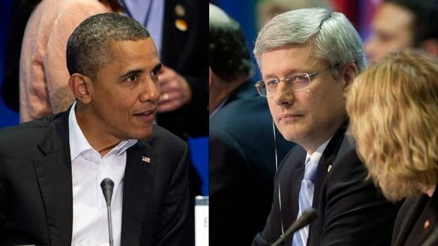 U.S. President Barack Obama, left, and Canadian Prime Minister Stephen Harper were the only two leaders at the Summit of the Americas who sought to block Cuba from attending the next round of meetings in three years.