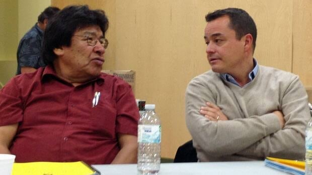 Neskantaga Chief Peter Moonias and Assembly of First Nations Chief Shawn Atleo agree that First Nations need a bigger share of the resources taken from their traditional lands to fund social programs such as treatment for prescription drug abuse.