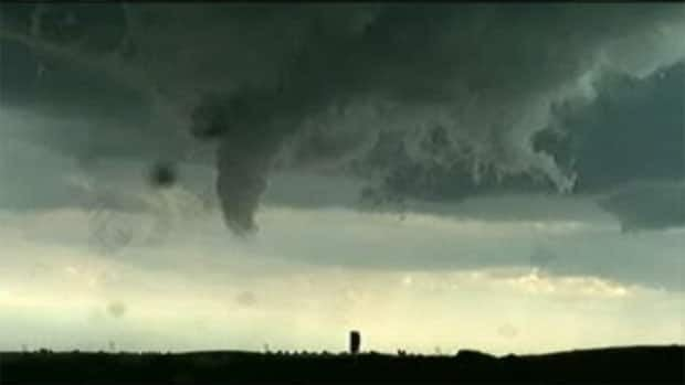 A funnel cloud formed southeast of Outlook, Sask.