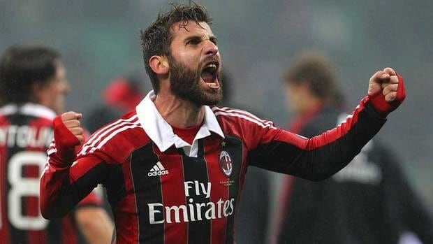 Antonio Nocerino of AC Milan celebrates a victory at the end of the Serie A match between AC Milan and Juventus FC at San Siro Stadium on Sunday in Milan, Italy.