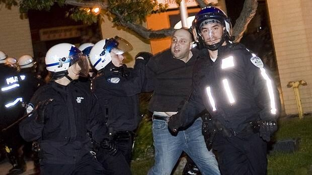 Police arrested at least 4 protesters during a large demonstration in Montreal on Friday.