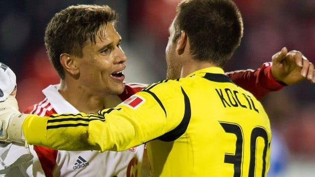 Defender Adrian Cann, left, was one of six players Toronto FC cut Thursday. He made 65 appearances during his three seasons with the club.