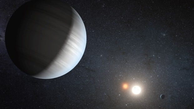 An artist's depiction of the Kepler-47 system. On the left, is the larger of the two planets that orbit the two stars at the centre of the system. At the far right is the second planet, which is smaller and orbits closer to the two stars. The bright white circle at the centre represents the system's primary star, which is about three times bigger and 60 times brighter than the companion star.