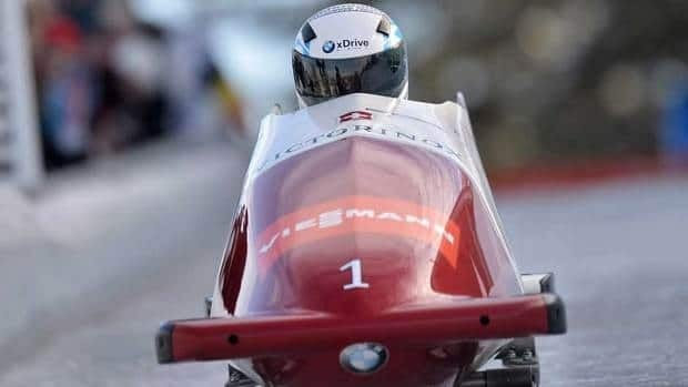 Beat Hefti, in front shown here during a two-man bobsled race last weekend, won a four-man race Sunday in La Plagne, France.