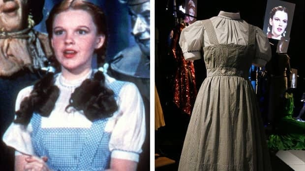 This photo combo shows, at left, actress Judy Garland as Dorothy in The Wizard of Oz, and right, is a file photo of the dress Garland wore in the movie.