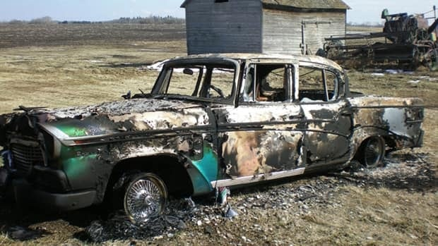 The remains of a 1956 Studebaker after vandals torched the antique vehicle over the weekend west of Edmonton.