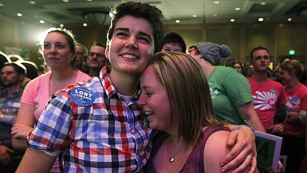 Gay marriage proponents celebrate the passage of a referendum result Tuesday upholding the new same-sex marriage law in Washington state.