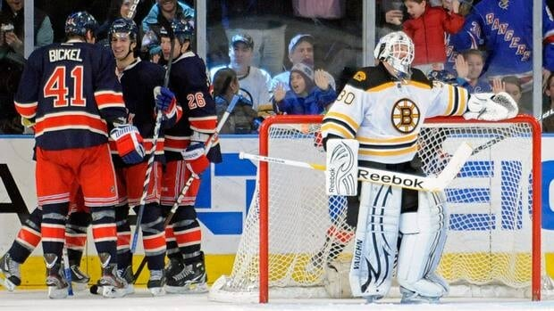 The New York Rangers were held to only 17 shots Sunday, but got the best of Boston Bruins goalie Tim Thomas, who lost for the second straight day.