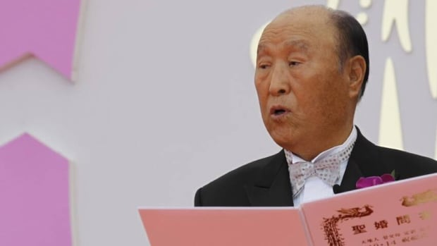 Rev. Sun Myung Moon, seen here in October 2010, is unconscious in intensive care after being hospitalized for pneumonia.
