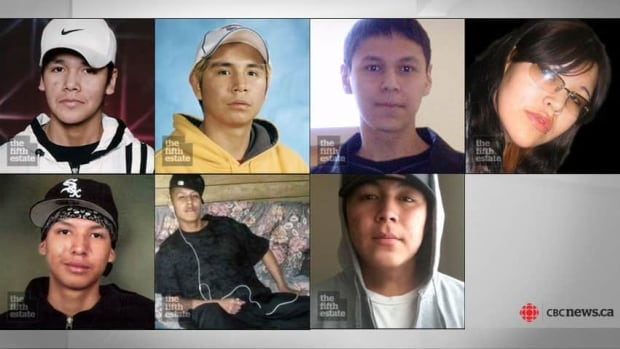 The seven students who have died in Thunder Bay since 2000 are, from top left, Jethro Anderson, 15, Curran Strang, 18, Paul Panacheese, 17, Robyn Harper, 18, Reggie Bushie, 15, Kyle Morriseau, 17, and Jordan Wabasse, 15.
