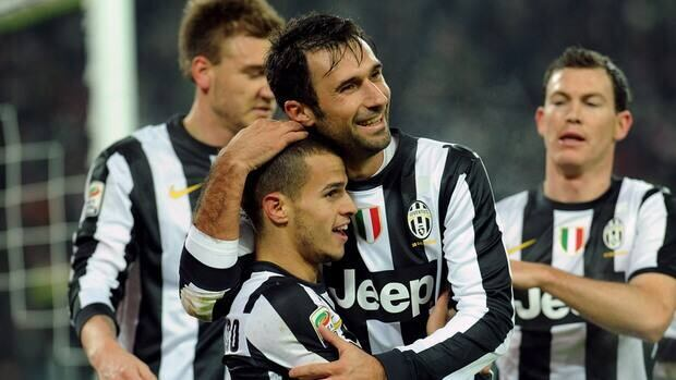 Juventus players celebrate during the match against Torino at Juventus Arena on December 1, 2012 in Turin, Italy.