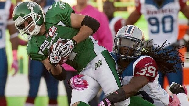 Roughriders slotback/kick returner Weston Dressler, left, ran for 76 yards and one touchdown on two punt returns in his team's 34-28 loss to Jerald Brown and the Alouettes last week.