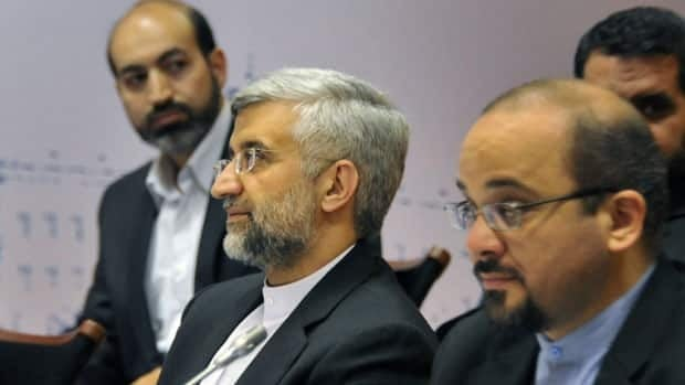 Iranian nuclear negotiator Saeed Jalili, centre, was heading talks with six world powers on the controversial Iranian nuclear programme in Moscow on Tuesday. The talks were suspended on Tuesday.