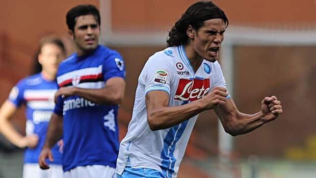 Napoli forward Edinson Roberto Gomez Cavani celebrates after scoring during a Serie A soccer match between Sampdoria and Napoli, in Genoa, Italy on Sunday.