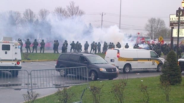 Quebec provincial police fired chemical irritants at student demonstrators in May 2012.