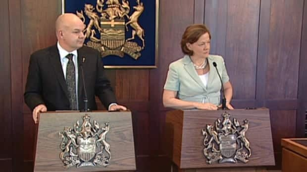 Premier Alison Redford was joined by Health Minister Fred Horne on Wednesday to announce the province's lawsuit against tobacco companies.