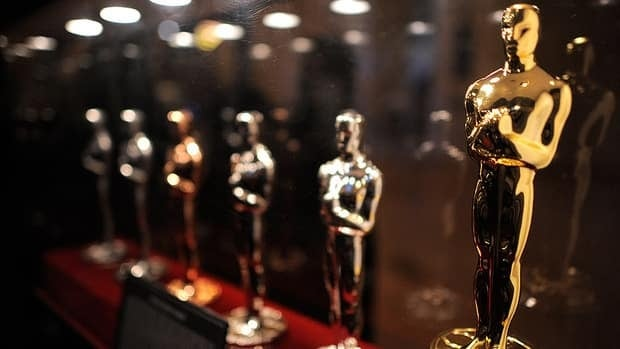 Oscar statuettes on display at Grand Central Terminal in New York.