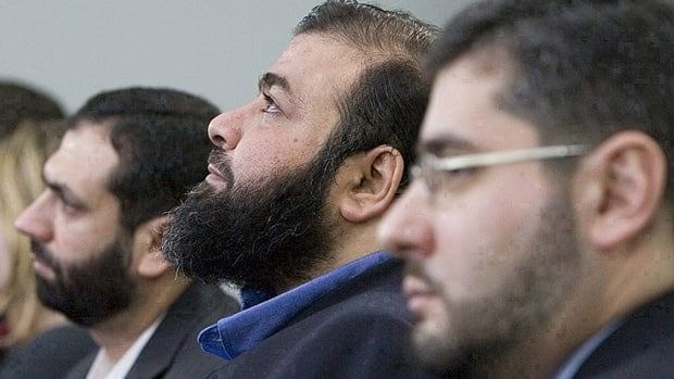 Muayyed Nureddin, Ahmad Abou-Elmaati and Abdullah Almalki (left to right) wait for the start of the 2008 Iacobucci Inquiry into their deportation and torture. A new UN report has condemned Canada for its 'complicity' in their cases and other cases involving Muslim men post 9/11.
