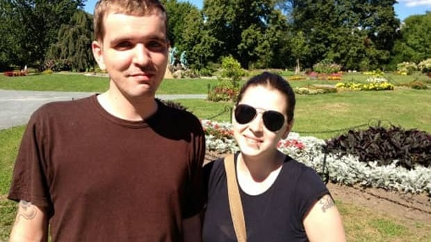 Andrew Dahlen and his girlfriend Amanda Olson in Albany, NY, waiting for the MS clinical trials to begin.