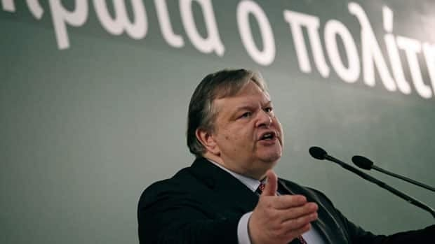 Greek Finance Minister Evangelos Venizelos speaks near Athens on Saturday. Greece's private creditors agreed Friday to take cents on the euro in the biggest debt writedown in history.